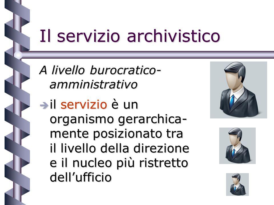 Il servizio archivistico A livello burocratico- amministrativo è il servizio è un organismo gerarchica- mente posizionato tra il livello della direzione e il nucleo più ristretto dellufficio