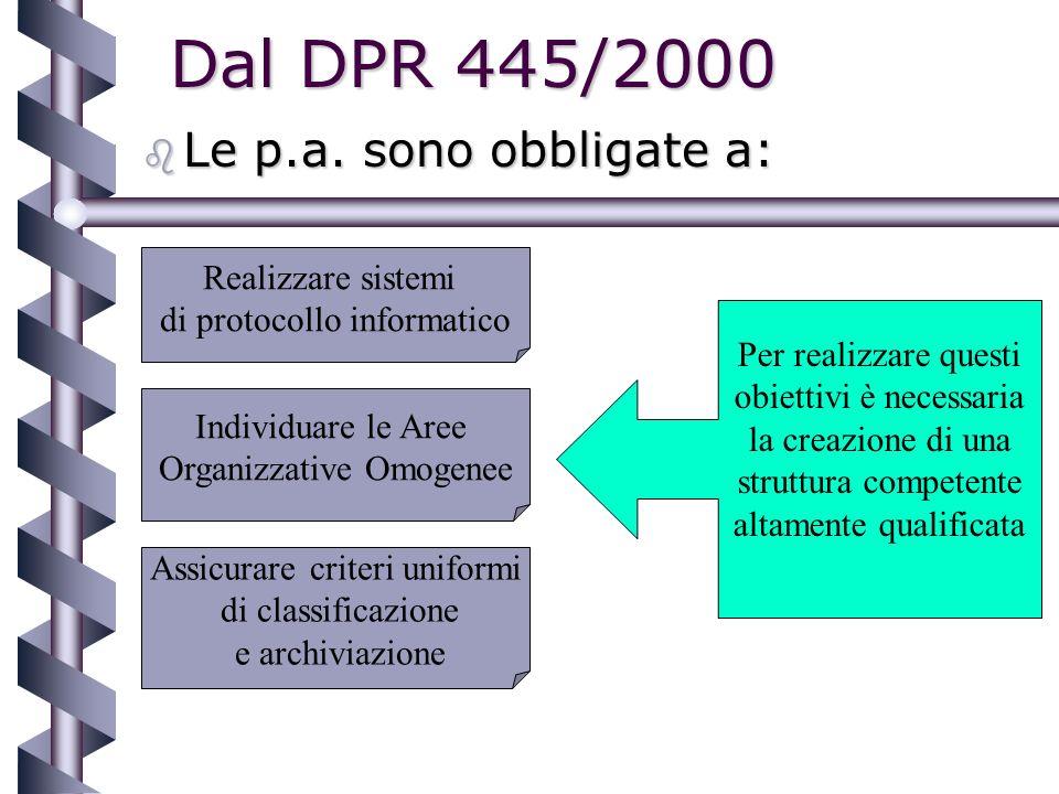 Gli attuali presupposti normativi b D.P.R.445/00, art.
