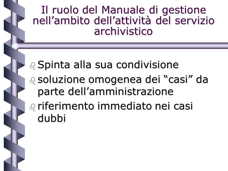 Il ruolo del Manuale di gestione nellambito dellattività del servizio archivistico b Spinta alla sua condivisione b soluzione omogenea dei casi da parte dellamministrazione b riferimento immediato nei casi dubbi