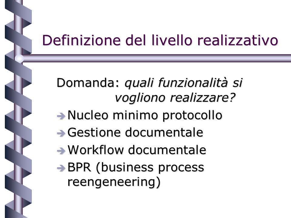 Definizione del livello realizzativo Domanda: quali funzionalità si vogliono realizzare.
