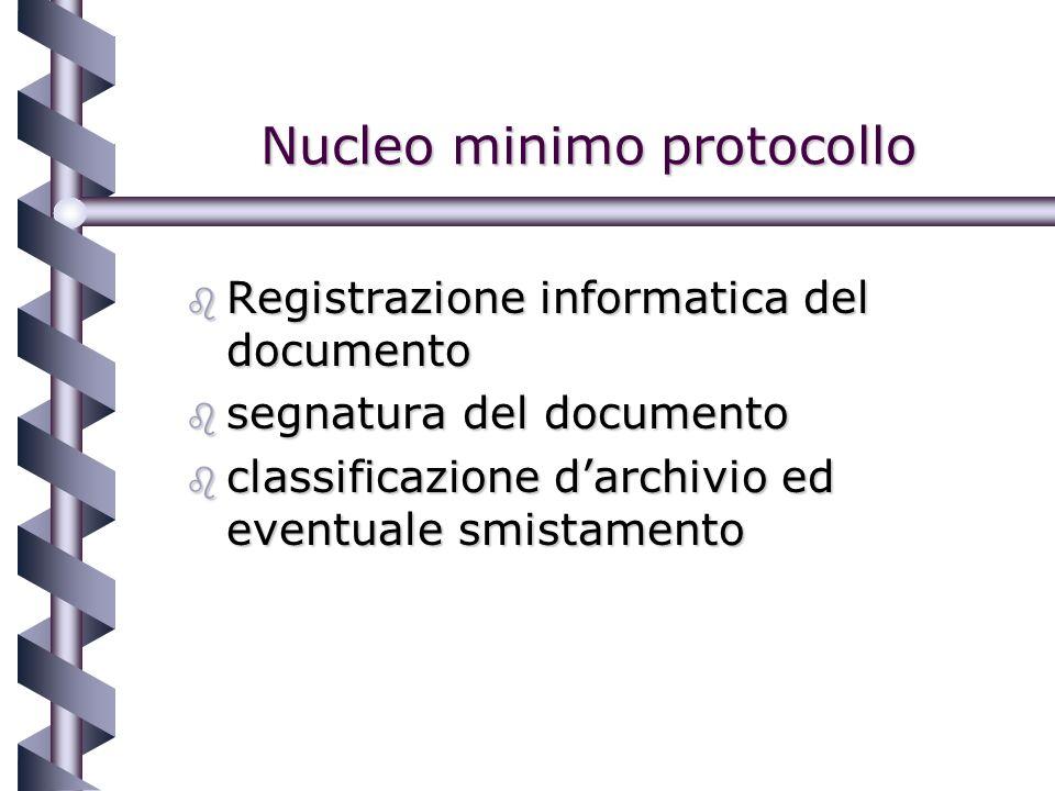 Nucleo minimo protocollo b Registrazione informatica del documento b segnatura del documento b classificazione darchivio ed eventuale smistamento