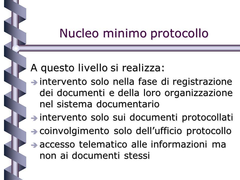 Nucleo minimo protocollo A questo livello si realizza: è intervento solo nella fase di registrazione dei documenti e della loro organizzazione nel sistema documentario è intervento solo sui documenti protocollati è coinvolgimento solo dellufficio protocollo è accesso telematico alle informazioni ma non ai documenti stessi