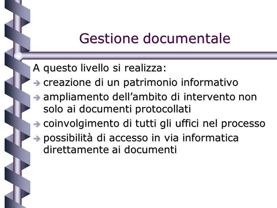 Gestione documentale A questo livello si realizza: è creazione di un patrimonio informativo è ampliamento dellambito di intervento non solo ai documenti protocollati è coinvolgimento di tutti gli uffici nel processo è possibilità di accesso in via informatica direttamente ai documenti