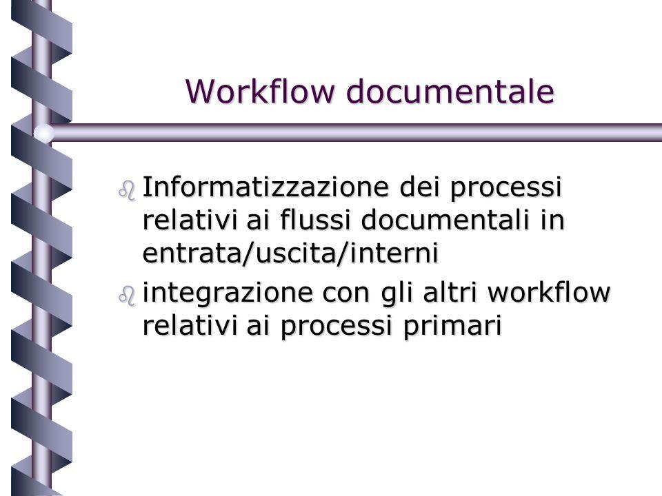 Workflow documentale b Informatizzazione dei processi relativi ai flussi documentali in entrata/uscita/interni b integrazione con gli altri workflow relativi ai processi primari