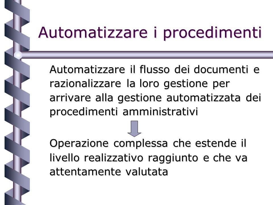 Automatizzare i procedimenti Automatizzare il flusso dei documenti e razionalizzare la loro gestione per arrivare alla gestione automatizzata dei procedimenti amministrativi Operazione complessa che estende il livello realizzativo raggiunto e che va attentamente valutata