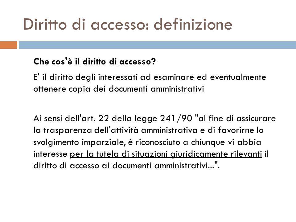 Diritto di accesso: definizione Che cos'è il diritto di accesso? E' il diritto degli interessati ad esaminare ed eventualmente ottenere copia dei docu