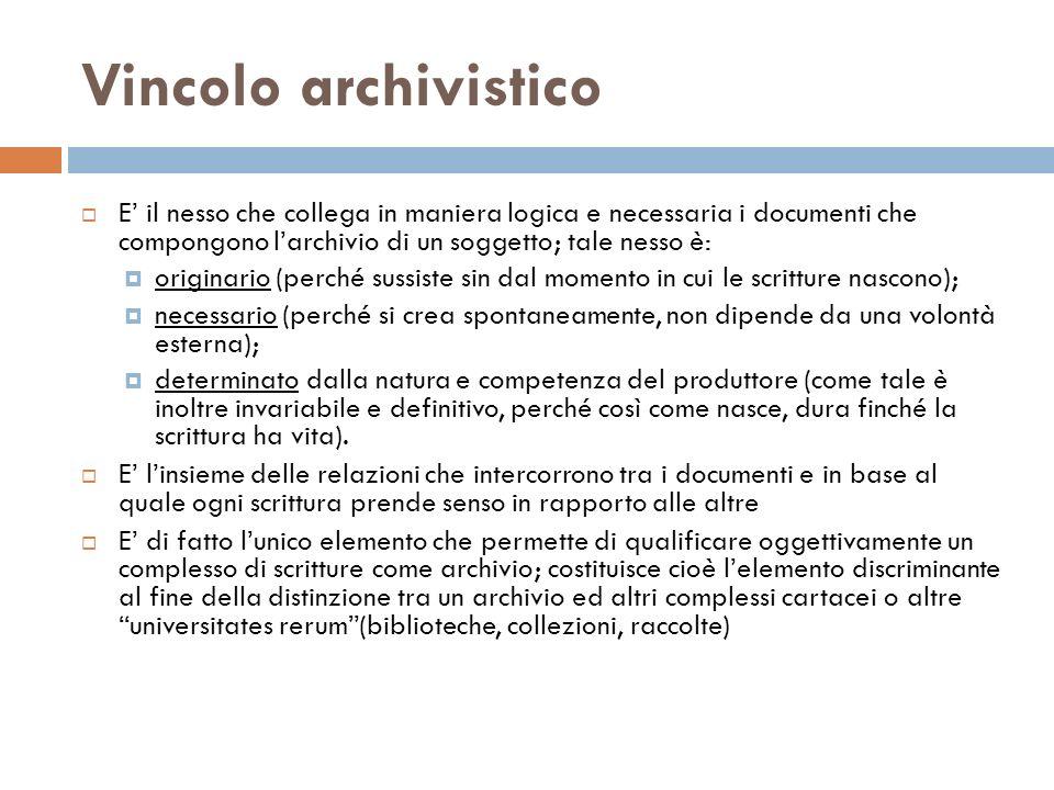 Vincolo archivistico E il nesso che collega in maniera logica e necessaria i documenti che compongono larchivio di un soggetto; tale nesso è: originar