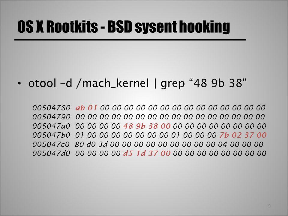 10 OS X Rootkits - BSD sysent hooking Simbolo esportato per ottenere un VA di partenza – Possibilmente non far-far-away e reliable nm /mach_kernel   grep 504780 00504780 _nsysent grep –ir ~/kern/1228.3.13/bsd/ nsysent sys/sysent.h:extern int nsysent;