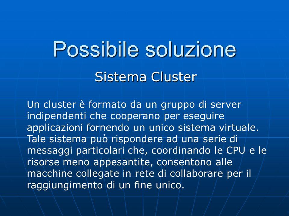 Possibile soluzione Sistema Cluster Un cluster è formato da un gruppo di server indipendenti che cooperano per eseguire applicazioni fornendo un unico sistema virtuale.