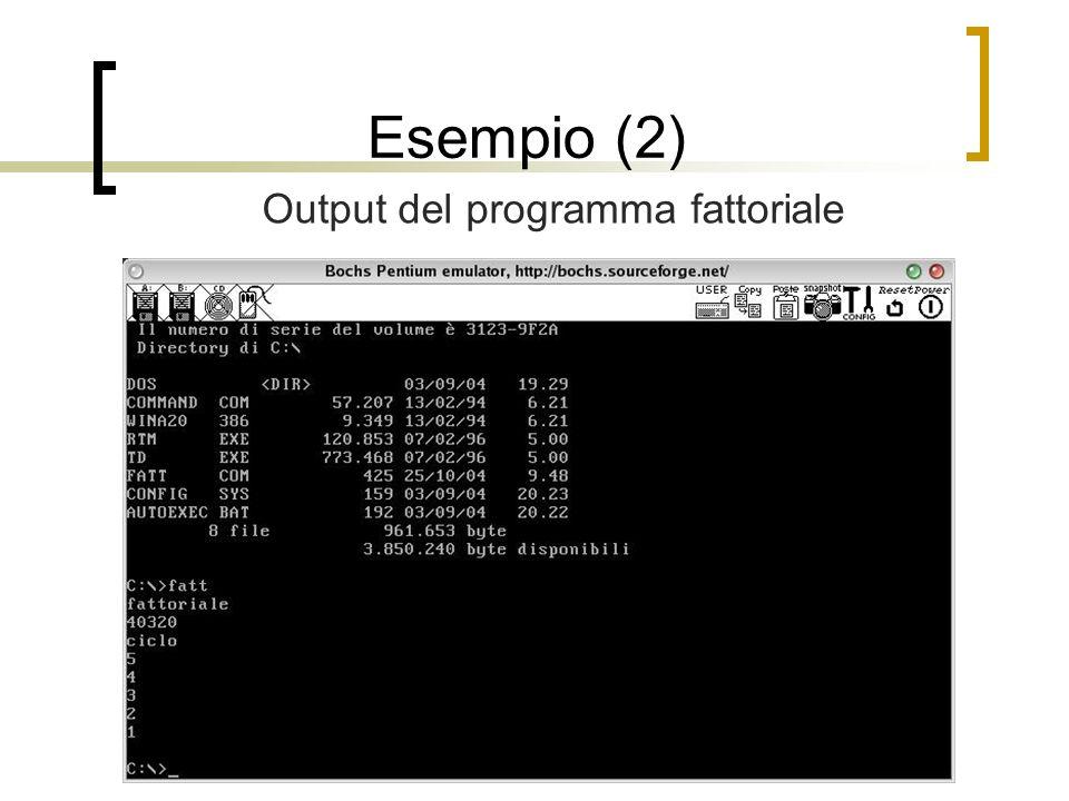 Esempio (2) Output del programma fattoriale