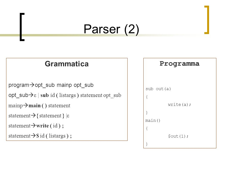 Parser (2) Grammatica program opt_sub mainp opt_sub opt_sub ε | sub id ( listargs ) statement opt_sub mainp main ( ) statement statement { statement } |ε statement write ( id ) ; statement $ id ( listargs ) ; Programma sub out(a) { write(a); } main() { $out(1); }