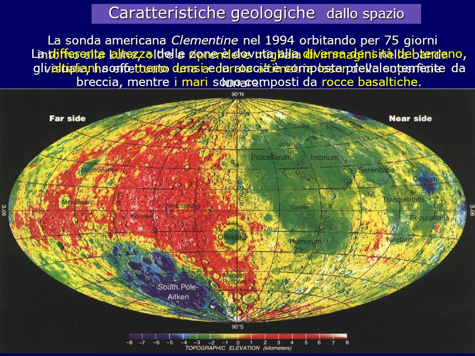Caratteristiche geologiche dallo spazio La sonda americana Clementine nel 1994 orbitando per 75 giorni intorno alla Luna, oltre a riprendere migliaia