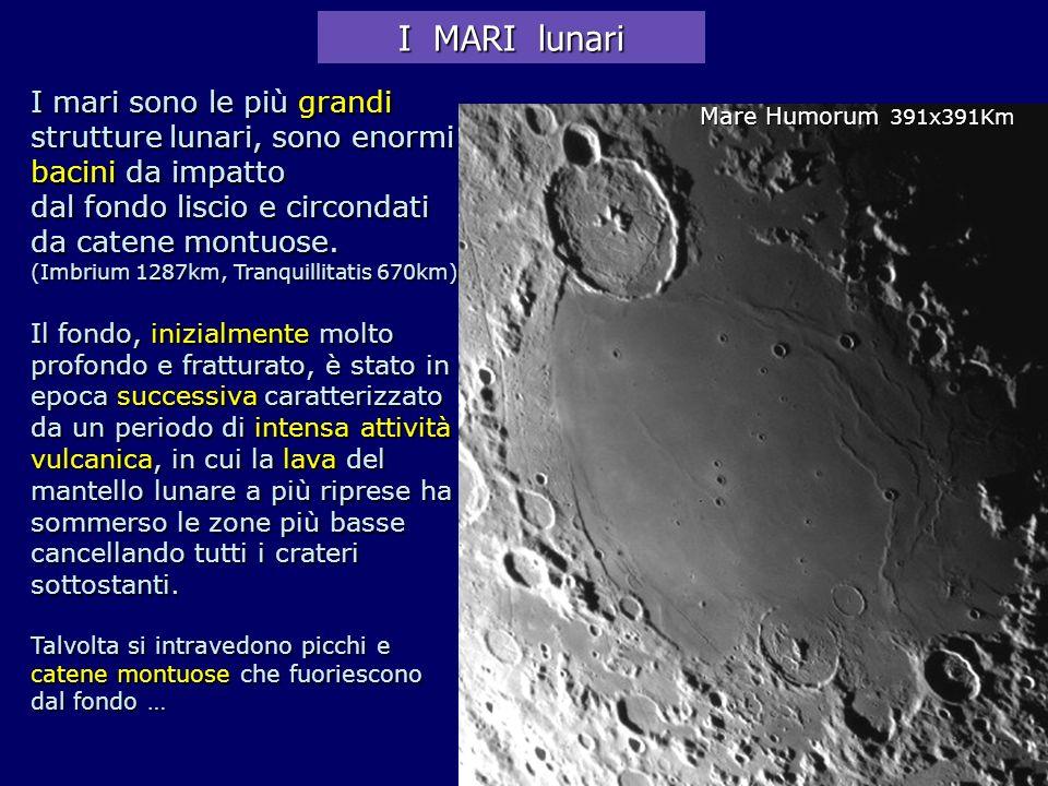 I mari sono le più grandi strutture lunari, sono enormi bacini da impatto dal fondo liscio e circondati da catene montuose. (Imbrium 1287km, Tranquill