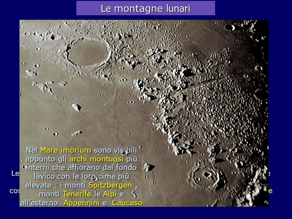 M.ti Caucaso 6000m Exodus 67km Aristoteles 87km Mare Serenitatis Alpi 2400m Mare Imbrium Le montagne lunari Le catene montuose lunari si sono formate