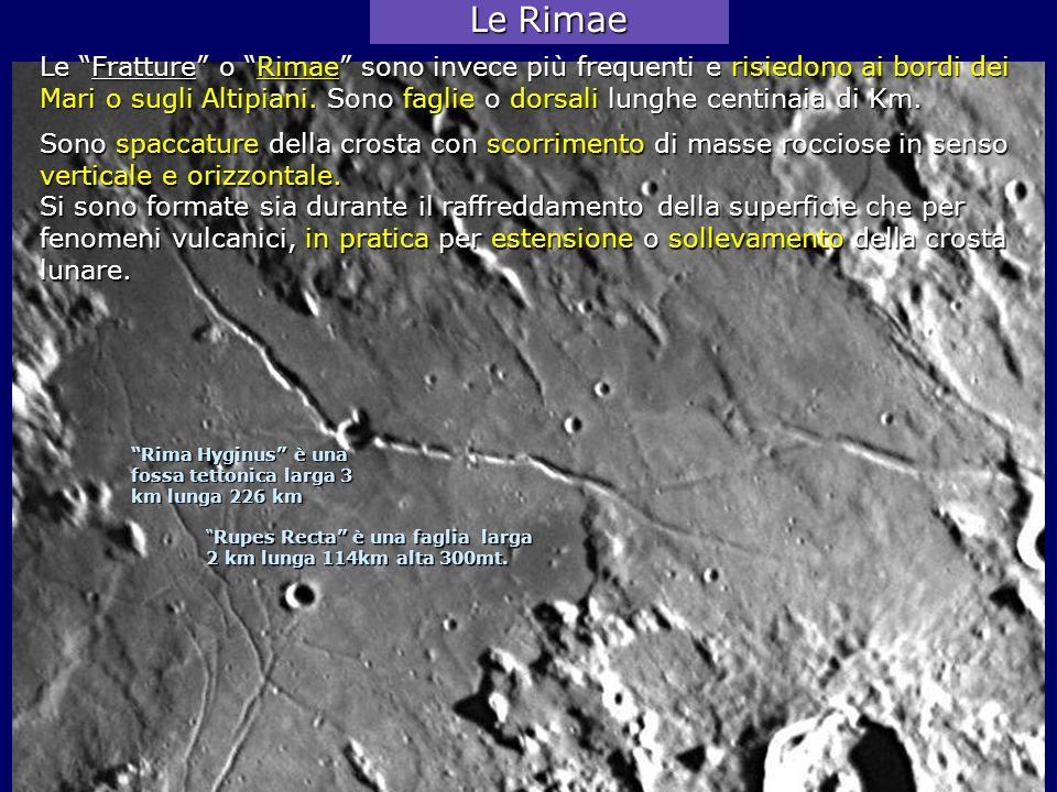 Le Fratture o Rimae sono invece più frequenti e risiedono ai bordi dei Mari o sugli Altipiani. Sono faglie o dorsali lunghe centinaia di Km. Rupes Rec