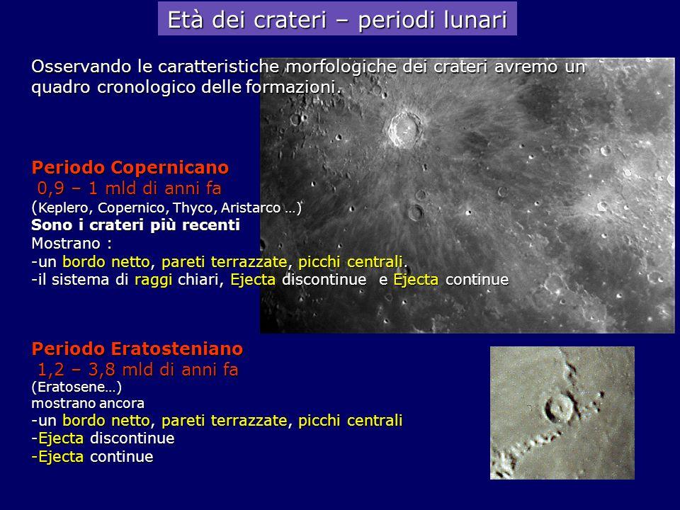 Età dei crateri – periodi lunari Periodo Copernicano 0,9 – 1 mld di anni fa 0,9 – 1 mld di anni fa ( Keplero, Copernico, Thyco, Aristarco …) Sono i cr