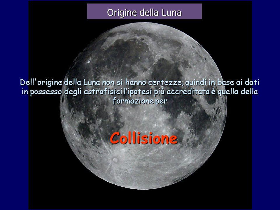 Dell'origine della Luna non si hanno certezze, quindi in base ai dati in possesso degli astrofisici lipotesi più accreditata è quella della formazione