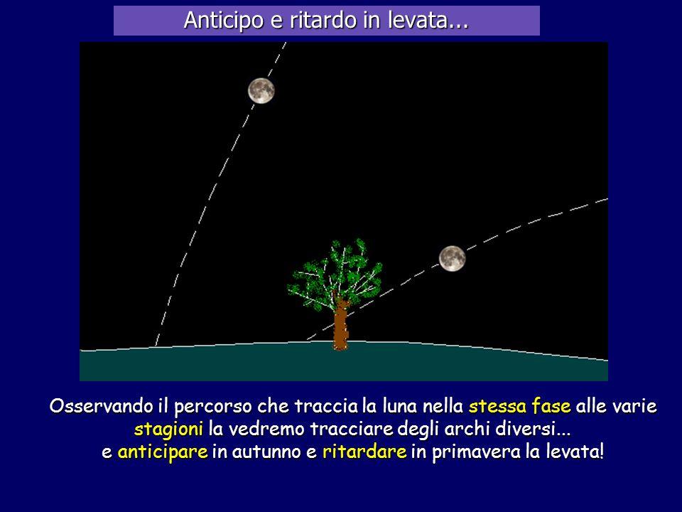 Osservando il percorso che traccia la luna nella stessa fase alle varie stagioni la vedremo tracciare degli archi diversi... e anticipare in autunno e