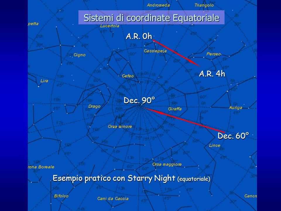 Sistemi di coordinate Equatoriale A.R. 0h Dec. 90° Esempio pratico con Starry Night (equatoriale) Dec. 60° A.R. 4h