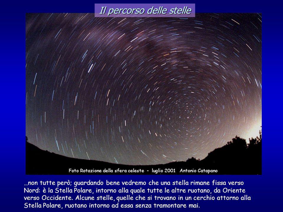 Il percorso delle stelle …non tutte però; guardando bene vedremo che una stella rimane fissa verso Nord: è la Stella Polare, intorno alla quale tutte