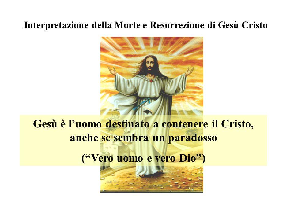 Interpretazione della Morte e Resurrezione di Gesù Cristo Gesù è luomo destinato a contenere il Cristo, anche se sembra un paradosso (Vero uomo e vero Dio)