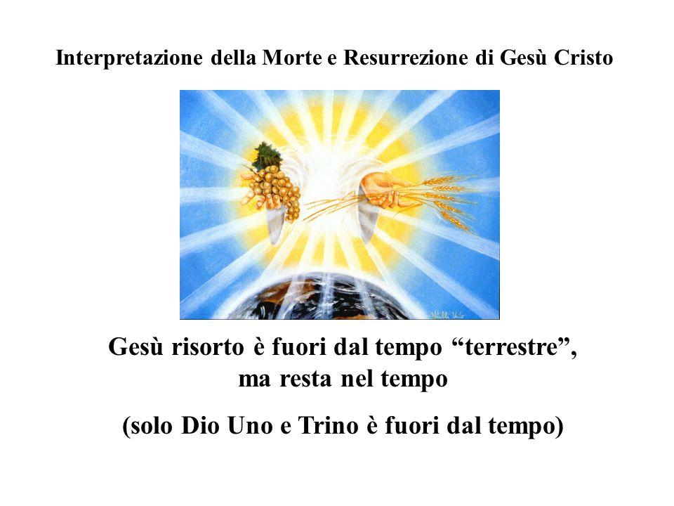 Interpretazione della Morte e Resurrezione di Gesù Cristo Gesù risorto è fuori dal tempo terrestre, ma resta nel tempo (solo Dio Uno e Trino è fuori dal tempo)