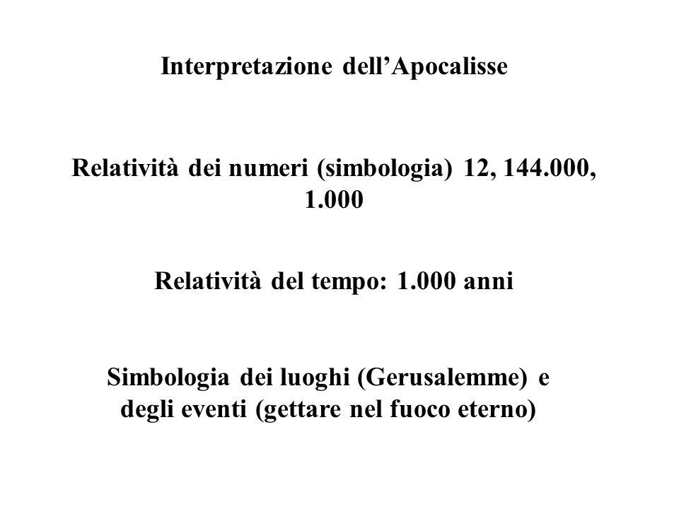 Interpretazione dellApocalisse Relatività dei numeri (simbologia) 12, 144.000, 1.000 Relatività del tempo: 1.000 anni Simbologia dei luoghi (Gerusalemme) e degli eventi (gettare nel fuoco eterno)