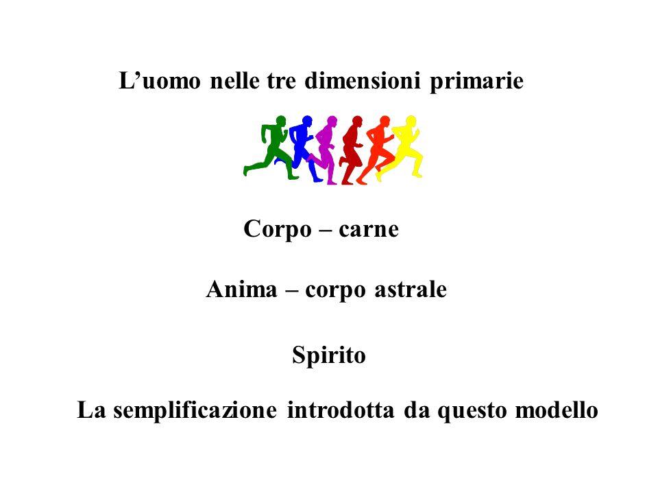 Corpo – carne Anima – corpo astrale Spirito La semplificazione introdotta da questo modello
