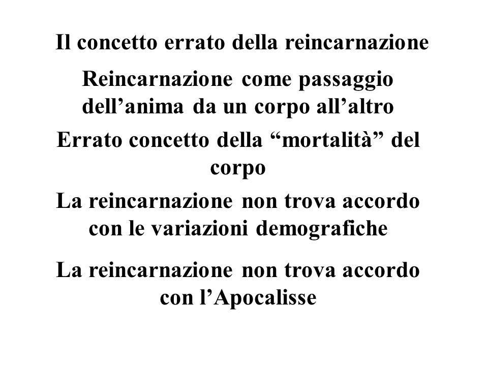 Il concetto errato della reincarnazione Reincarnazione come passaggio dellanima da un corpo allaltro Errato concetto della mortalità del corpo La reincarnazione non trova accordo con le variazioni demografiche La reincarnazione non trova accordo con lApocalisse