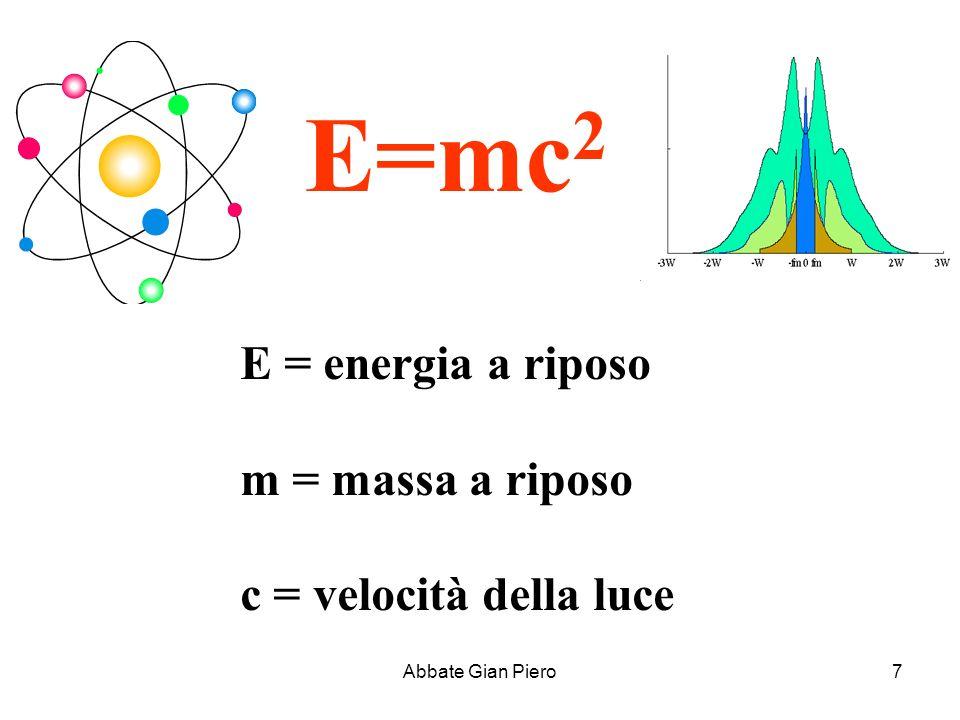 Abbate Gian Piero7 E=mc 2 E = energia a riposo m = massa a riposo c = velocità della luce