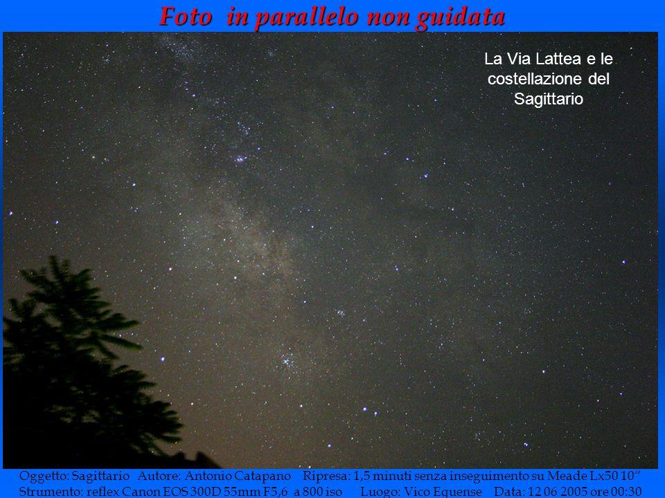 Foto in parallelo non guidata Oggetto: Sagittario Autore: Antonio Catapano Ripresa: 1,5 minuti senza inseguimento su Meade Lx50 10 Strumento: reflex C