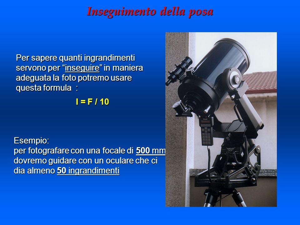 Inseguimento della posa Esempio: per fotografare con una focale di 500 mm dovremo guidare con un oculare che ci dia almeno 50 ingrandimenti Per sapere