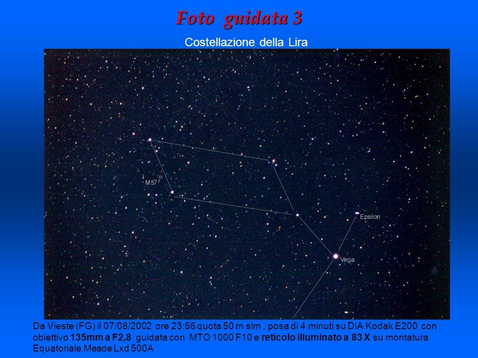 Foto guidata 3 Da Vieste (FG) il 07/08/2002 ore 23:56 quota 50 m slm, posa di 4 minuti su DIA Kodak E200 con obiettivo 135mm a F2,8 guidata con MTO 10