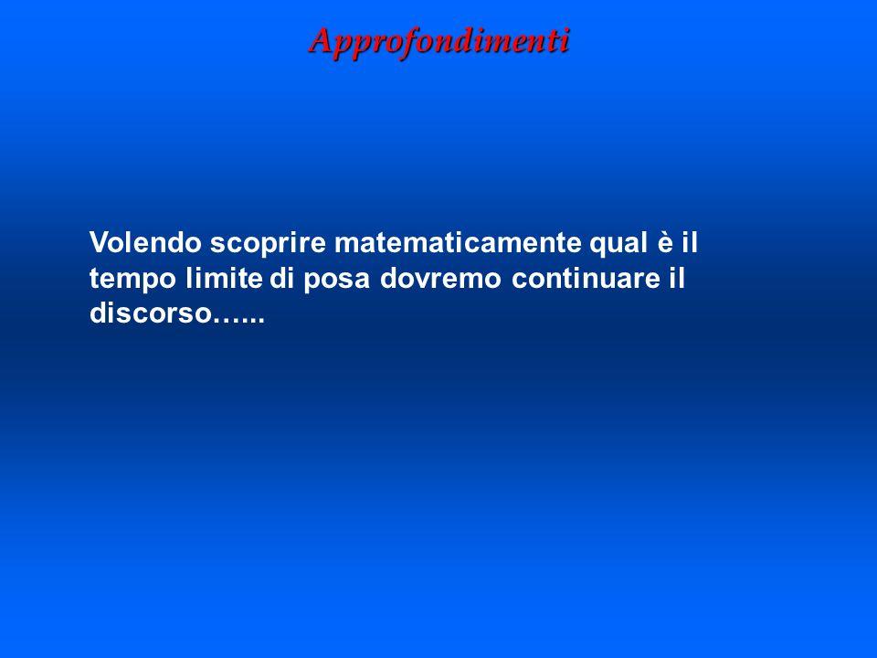Volendo scoprire matematicamente qual è il tempo limite di posa dovremo continuare il discorso…... Approfondimenti