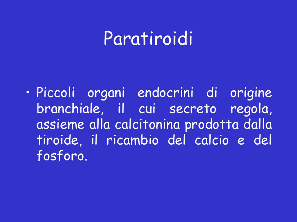 Paratiroidi Piccoli organi endocrini di origine branchiale, il cui secreto regola, assieme alla calcitonina prodotta dalla tiroide, il ricambio del ca
