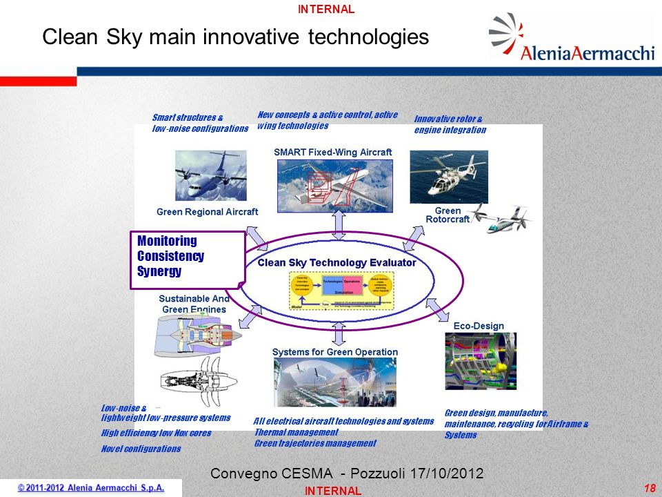 INTERNAL 18 Clean Sky main innovative technologies New concepts & active control, active wing technologies Smart structures & low-noise configurations
