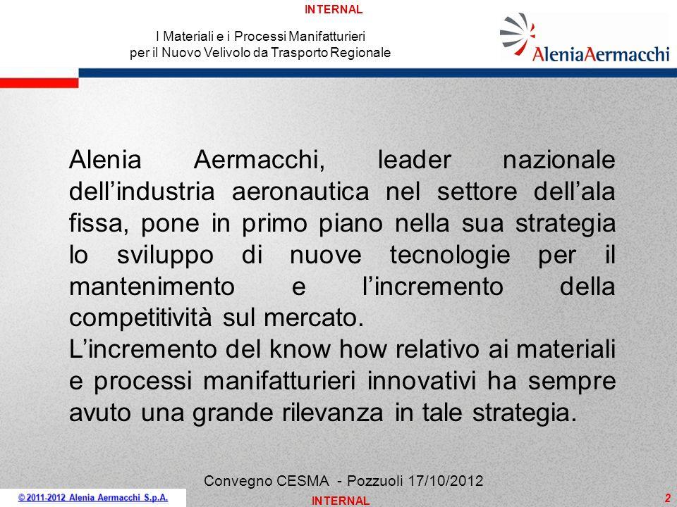 INTERNAL 2 Convegno CESMA - Pozzuoli 17/10/2012 Alenia Aermacchi, leader nazionale dellindustria aeronautica nel settore dellala fissa, pone in primo