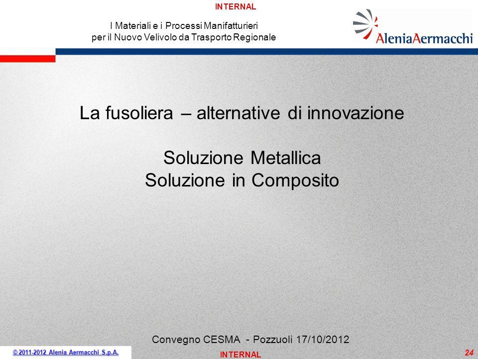 INTERNAL 24 I Materiali e i Processi Manifatturieri per il Nuovo Velivolo da Trasporto Regionale Convegno CESMA - Pozzuoli 17/10/2012 La fusoliera – a