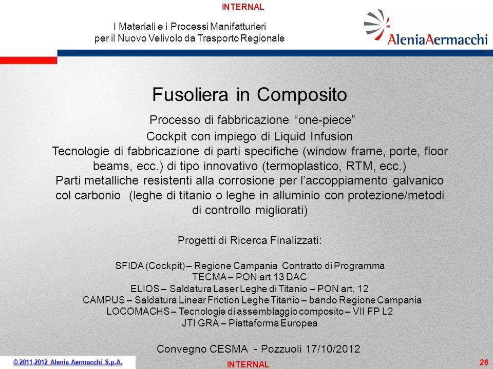INTERNAL 26 I Materiali e i Processi Manifatturieri per il Nuovo Velivolo da Trasporto Regionale Convegno CESMA - Pozzuoli 17/10/2012 Fusoliera in Com