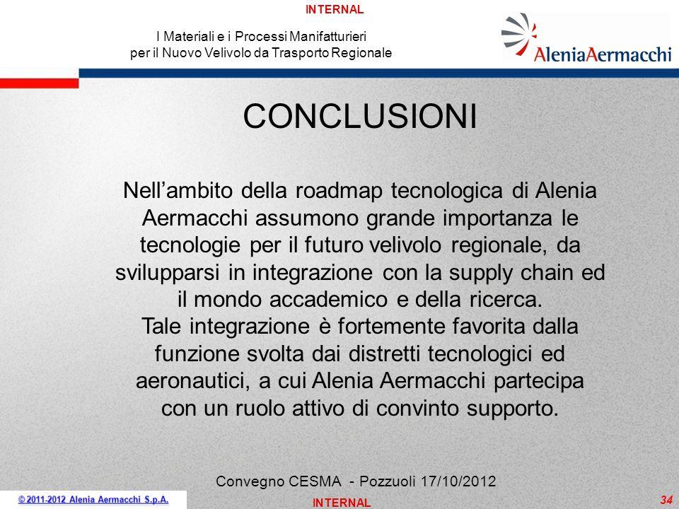INTERNAL 34 I Materiali e i Processi Manifatturieri per il Nuovo Velivolo da Trasporto Regionale Convegno CESMA - Pozzuoli 17/10/2012 CONCLUSIONI Nell