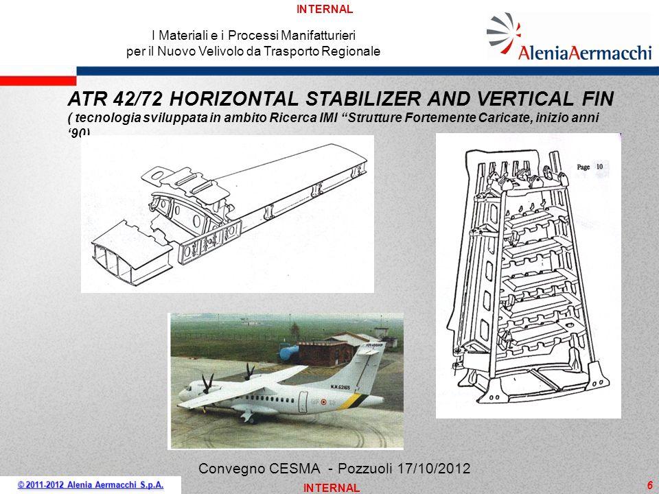 INTERNAL 6 ATR 42/72 HORIZONTAL STABILIZER AND VERTICAL FIN ( tecnologia sviluppata in ambito Ricerca IMI Strutture Fortemente Caricate, inizio anni 9