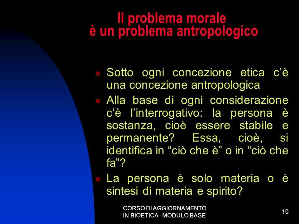 CORSO DI AGGIORNAMENTO IN BIOETICA - MODULO BASE 10 Il problema morale è un problema antropologico Sotto ogni concezione etica cè una concezione antro