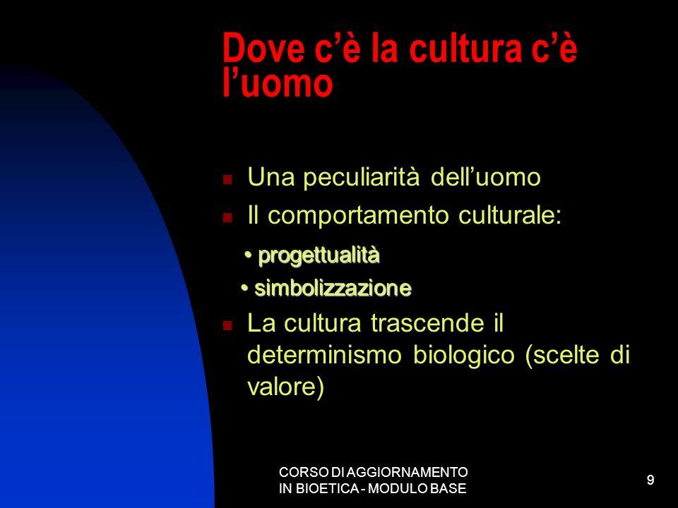 CORSO DI AGGIORNAMENTO IN BIOETICA - MODULO BASE 9 Dove cè la cultura cè luomo Una peculiarità delluomo Il comportamento culturale: progettualità prog