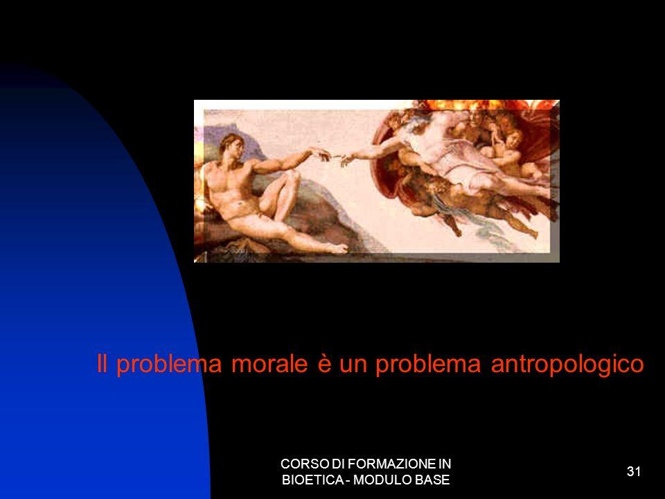 CORSO DI FORMAZIONE IN BIOETICA - MODULO BASE 31 Il problema morale è un problema antropologico