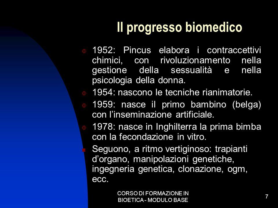 CORSO DI FORMAZIONE IN BIOETICA - MODULO BASE 7 Il progresso biomedico 1952: Pincus elabora i contraccettivi chimici, con rivoluzionamento nella gesti