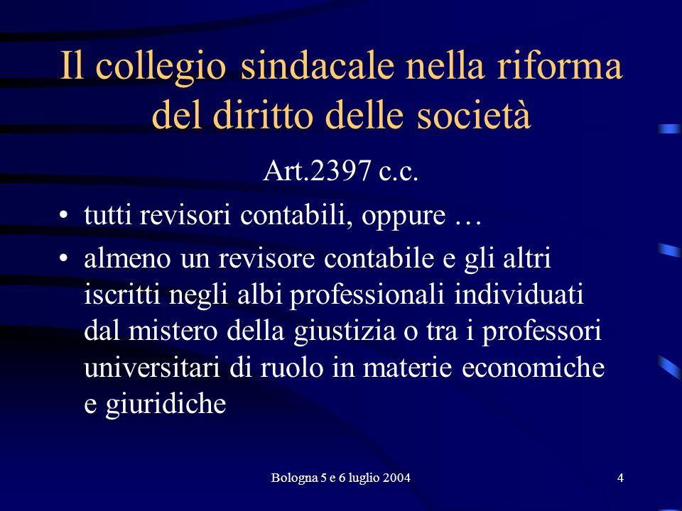 Bologna 5 e 6 luglio 20045 Il collegio sindacale nella riforma del diritto delle società Incompatibilità (art.2399 c.c.) interdetto, inabilitato, fallito, condannato penalmente ecc.