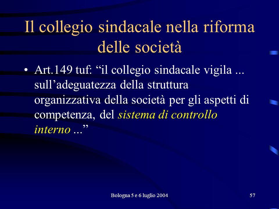 Bologna 5 e 6 luglio 200457 Il collegio sindacale nella riforma delle società Art.149 tuf: il collegio sindacale vigila...