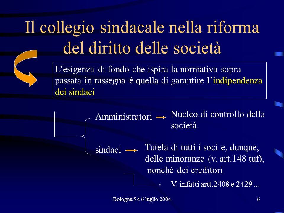 Bologna 5 e 6 luglio 20047 Il collegio sindacale nella riforma del diritto delle società Art.2408: denunzia ai sindaci di fatti ritenuti censurabili da parti di...