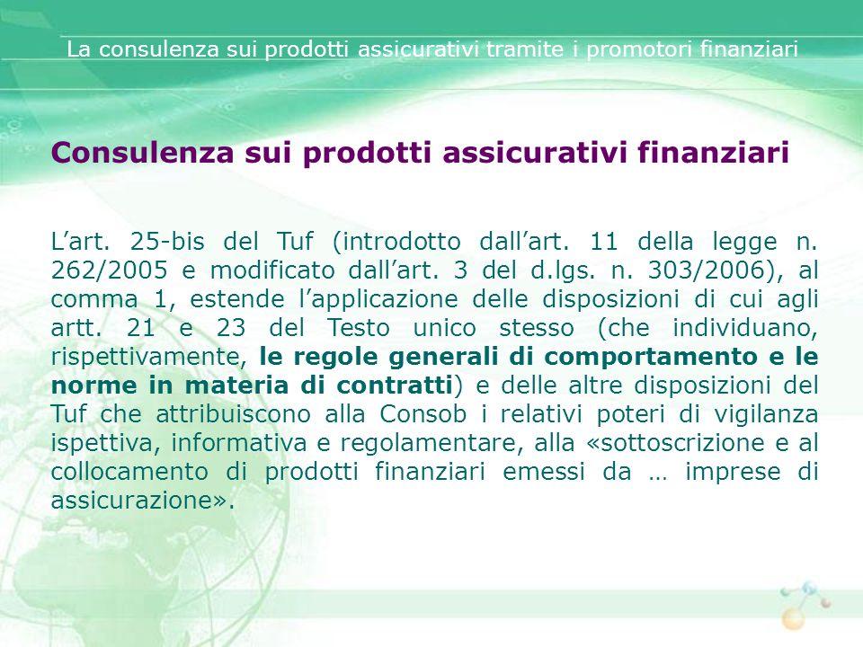 Consulenza sui prodotti assicurativi finanziari Lart. 25-bis del Tuf (introdotto dallart. 11 della legge n. 262/2005 e modificato dallart. 3 del d.lgs