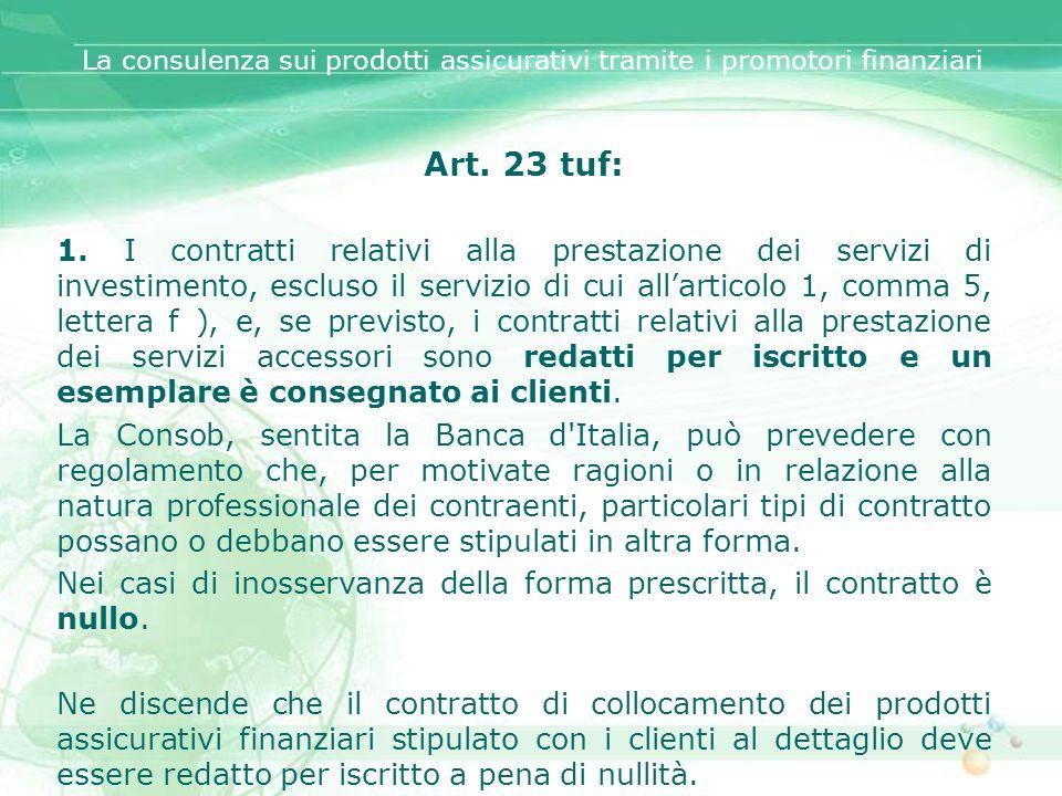 Art. 23 tuf: 1. I contratti relativi alla prestazione dei servizi di investimento, escluso il servizio di cui allarticolo 1, comma 5, lettera f ), e,